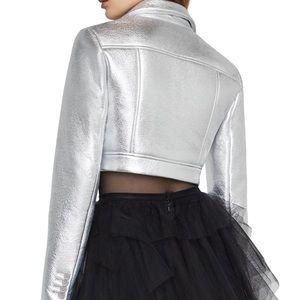 NWT BCBGMaxAzria Silver Crop Jacket